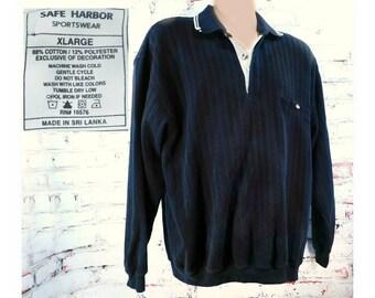 Black men's knit shirt  - 90's knit shirt men -Black collared knit shirt, Black long sleeve shirt,cotton knit shirt men , size X L  - # 106