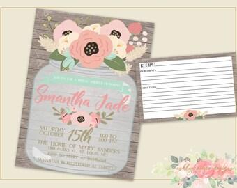 Spring Bridal Shower Invitation, Shabby Chic Bridal Shower Invitation, Mason Jar Invitation, Matching Bridal Shower and Recipe Card, Wedding