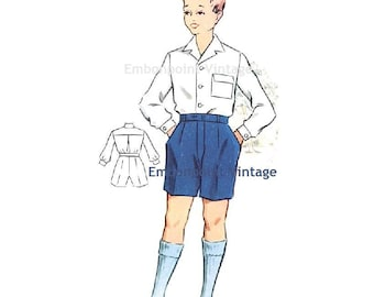 Plus Size (or any size) Vintage 1950s Boy's Shorts Pattern - PDF - Pattern No 176b Gary Shorts