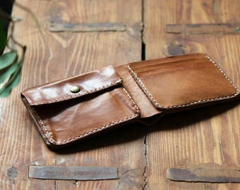Coin Bi-fold leather wallet/ Handmade leather wallet
