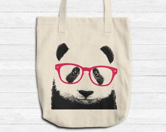 Smart Panda TOTE Canvas Bag, Animal With Glasses Tote, Reusable Grocery Bag, Denim Natural Cotton Tote, Book Bag Teachers Tote, Made in USA