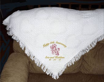 Personalized Anniversary Blanket celebrating any year anniversary, afghan throw 100 % cotton USA made