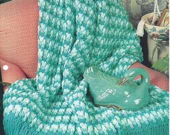 Soft Green Ripples Afghan Blanket Crochet Pattern, Home Decor, Stripe Blanket, Bedspread, Sofa Throw, Bedding, The Needlecraft Shop