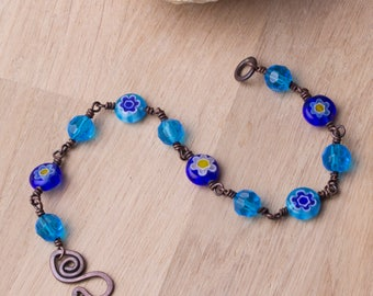 Copper Flower bracelet - Blue daisy Millefiori beaded copper bracelet | Copper jewellery | Millefiori jewelry | Beaded wire wrapped links