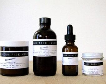 Damn Good Set: The Original Face Wash + Toner (of your choice) + Oil (of your choice) + Clay (of your choice) -- 100% natural skin care