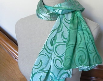 Hand dyed Devore satin silk scarf in shades of mint and spring green, ready to ship, scarf #520