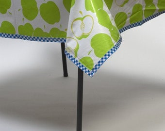 Rectangle Mod Apple Green Oilcloth Tablecloth with Gingham Blue Trim