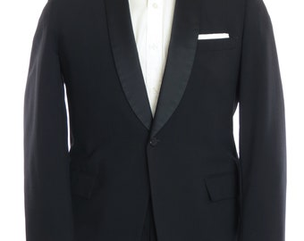 Size 40R - After Six 1960's VTG black one button shawl collar tuxedo, 34x31