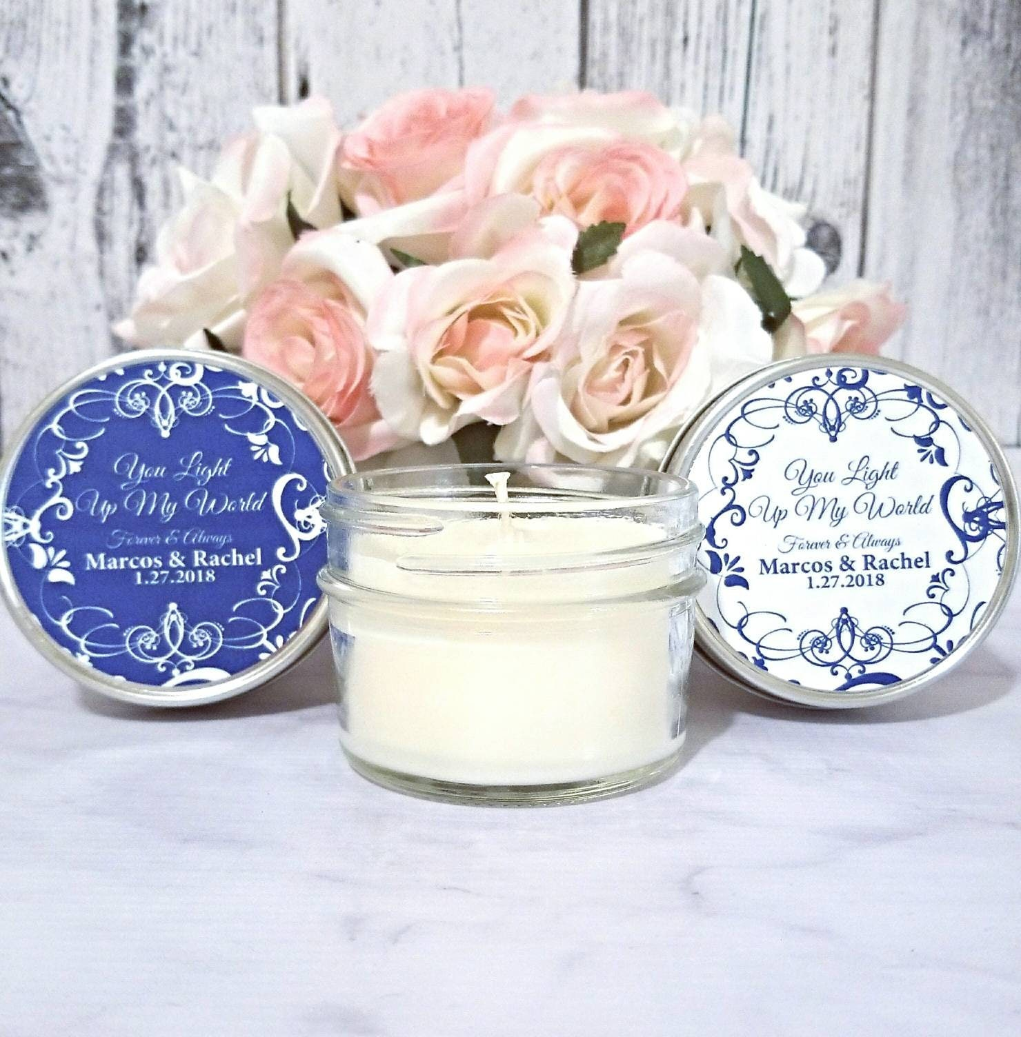 Navy Wedding Favors Candles - Wedding Candle Favors - Navy And White ...