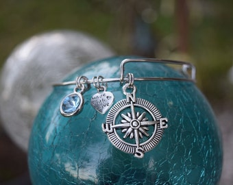 Compass Charm Bracelet, Adjustable Bracelet, North, South, East, West, Charm Bracelet