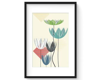 SUMMER LOTUS no.3 - Giclee Print - Abstract Contemporary Lotus Flowers in a Mid Century Modern Style