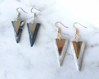 Isosceles Triangle Drop Earrings/ Polymer Clay Marble Earrings/ Dangle Triangle Clay Marble Earrings/ Handmade Earrings/ Dangle Triangle