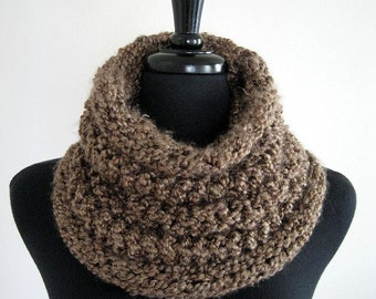 Sweet Cocoa Dark Taupe Color Knitted Chunky Cowl Tube Scarf Gaiter Shoodie Turtleneck