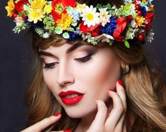 Ukrainian hair wreath Ukrainian wedding crown Poppy daisy flower crown Ukrainian souvenir gift Headband ethnic Floral crown Ukrainian bride