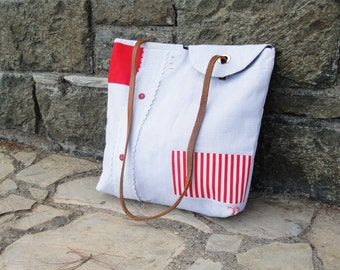Linen Patchwork Tote Leather strap, Red and White