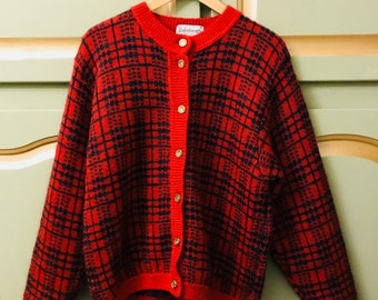 Vintage Womens Mohair Wool Ski Cardigan Made in Great Britain Size Medium UK 12 US 8 Mothers Day Gift Birthday Gift for Her