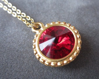 Gold July Birthstone Necklace, Ruby Necklace, Swarovski Crystal Jewelry, Red Necklace, Ruby Jewelry