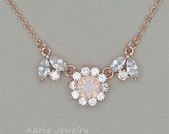 Pink Bridesmaid Necklace Pink Crystal Necklace  Swarovski Necklace Bridesmaid Gift Rose Water Opal Rhinestone Jewelry Rose Gold Necklace