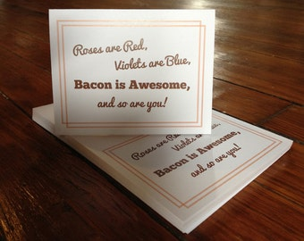 Bacon is Awesome - Orange - Thank You Card - Set of 10