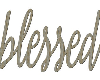 """Unfinished Wood Blessed Sign 17"""" x 29""""  Wall Decor Calligraphy"""