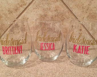 Bridesmaid glass