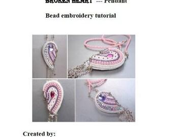 Tutorial ,Pattern,  Bead embroidery ,Beading pattern , Instructions only , Broken heart , Swarovski pendant