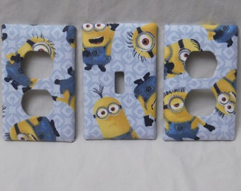 Light Blue Minions Light Switch Plate Outlet Plug Cover Custom Cable Rocker Kids Protective Plug Inserts