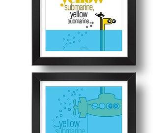 YELLOW submarine | Paired prints | Digital print | Design art