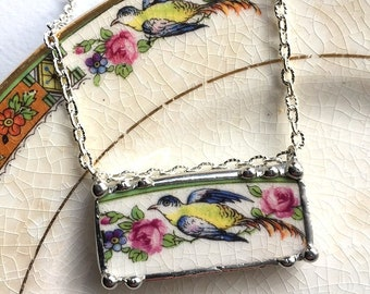 Broken china jewelry, recycled china necklace - ecofriendly jewelry - necklace antique bird of paradise - pink roses, Dishfunctional Designs