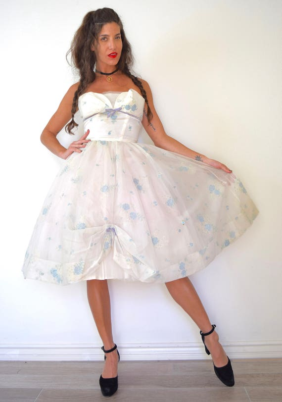 Vintage 50s New Look Blue Rose Floral Print White Organza Strapless Party Dress (size xs, small)