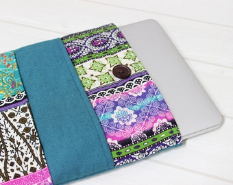 Macbook Pro sleeve, 15 inch laptop case, turquoise, Pro Retina sleeve, Laptop Sleeve 15, Ethnic laptop sleeve, Macbook case for her, gift