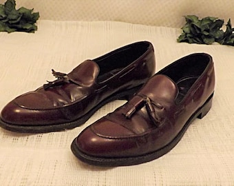 80s Florsheim Royal Imperial Oxblood Tassel Loafer Size 12 A