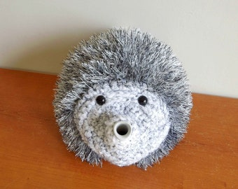 Silver hedgehog teapot cover, handmade tea cozy, crochet tea cosy, European hedgehog teapot cover uk, Lovely teapot cozy and hedgehog gift.