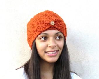 Crochet Spiral Hat, Crochet Cap, Crochet Orange Hat, Color is Orange,