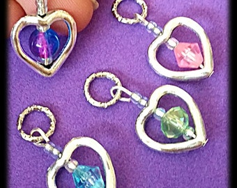 Hearing Aid Charms:  Silver Plated Hollow Hearts with Glass Accent Beads!  Also available in Matching Mother Daughter Sets!