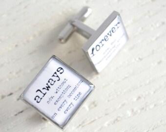 Always and forever cufflinks - defintion cufflinks - black and white cufflinks - typewriter print accessories