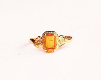 Citrine Ring Emerald Cut Natural Gemstone With Buttercup Flowers in Size 3 Baby or Pinky or Midi Style