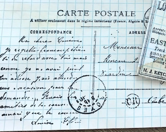 """8 French """"Carte Postale"""" journal cards  - Coffee stained ephemera index cards"""
