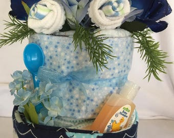 Baby Boy 2 Layer Disposable Diaper Cake, Whale Theme Baby Shower, Baby Shower Gift, Baby Shower Decor Baby Boy Shower Centerpiece, Baby Boy