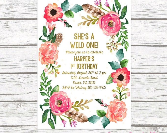 Wild One Birthday Invitation, Girl First 1st Birthday Invitation, Boho Feather Invitation, Floral Wreath Invite, Printable Invitation