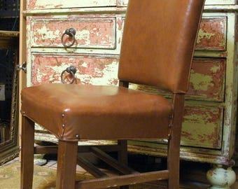 Antique Brown Leather Dining Side Chair with tacks, Vintage Accent Chair, Farmhouse Side Chair, Accent Chair, Rustic Cabin Chair