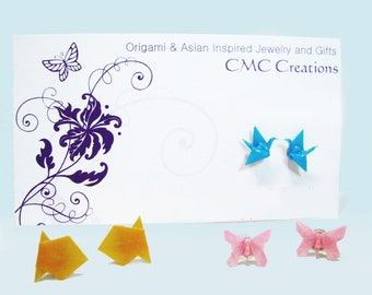 Origami Earrings Post Earrings Cranes Butterflies Gold Fish