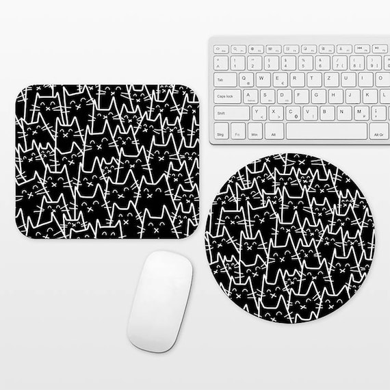 Cat Mouse Pad Round or Rectangle, Black Mouse Pad Cat Mousepad Black Mousepad, Mouse Pad for Him, Fun Mouse Pad Black and White Mouse Pad