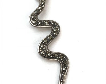 Sterling Silver and Marcasite Snake Pendant Serpent Pendant Necklace