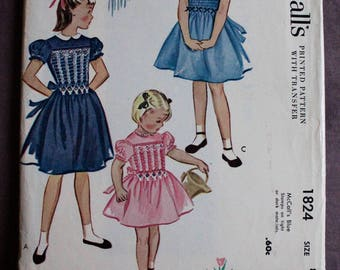 Girls 50s Dress with English Smocking Flower Embroidery Transfer Collar Vintage 1950s McCall's 1824 Sewing Pattern size 8 B 26 Uncut and FF