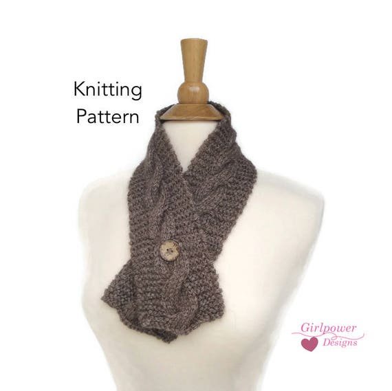Button Neck Warmer Knitting Pattern, Cable Design, Quick Fast Easy ...