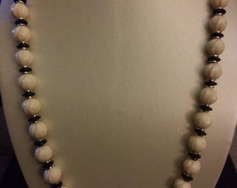 Swirled Ivory colored Bead Necklace
