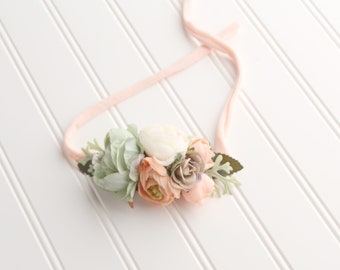 Hop, Skip and a Jump - adorable floral crown tieback in mint sage green, peach, beige taupe, ivory, and a hint of salmon pink (RTS)