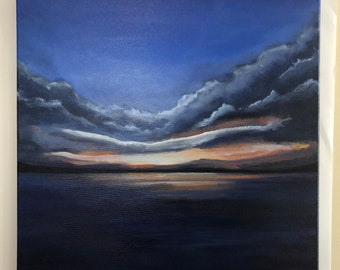 """Abstract Sunset Painting Seascape Art Acrylic Original // """"Awaken""""  20"""" x 20"""" Stretched Canvas"""