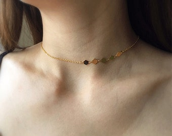 necklace etsy tiny gold il dainty coin market minimal